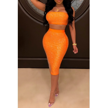Lovely Sexy Off The Shoulder Orange Two-piece Skirt Set