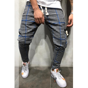 Lovely Casual Plaid Printed Blue  Pants