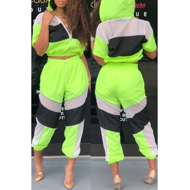 Lovely Trendy Patchwork Green Two-piece Pants Set