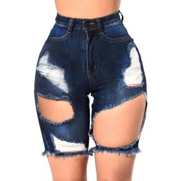 Lovely Leisure Broken Holes Deep Blue Denim Shorts