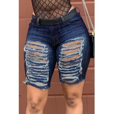 Lovely Leisure Broken Holes Navy Denim Shorts