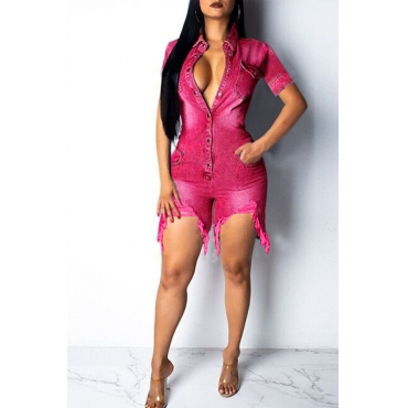 Lovely Casual Broken Holes Rose Red Denim One-piece Romper