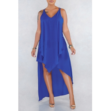 Lovely Casual V Neck Asymmetrical Blue Mid Calf Dress(Nonelastic)