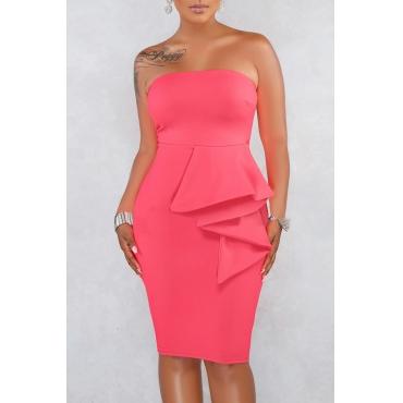 Lovely Work Off The Shoulder Ruffle Design Light Pink Knee Length A Line Dress