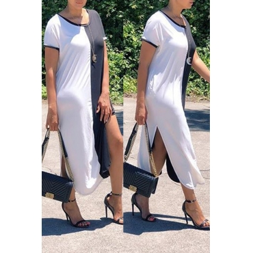 Lovely Casual O Neck Black-white Patchwork Mid Calf Dress