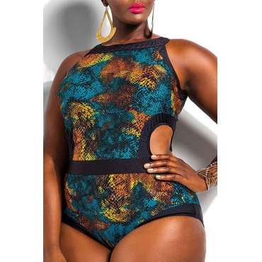Lovely Snakeskin Pattern Printed Hollow-out One-piece Swimwear