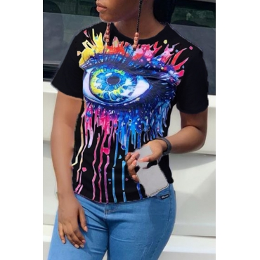 Lovely Casual O Neck Printed Black T-shirt
