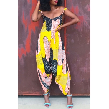 Lovely Casual Printed Yellow Loose One-piece Jumpsuit