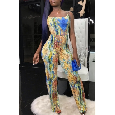 Lovely Sexy Snakeskin Pattern Printed Multicolor One-piece Jumpsuit