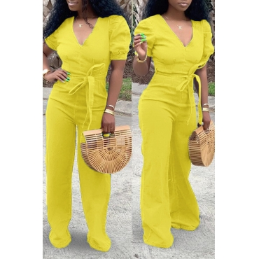 Lovely Trendy Zipper Design Yellow Denim One-piece Jumpsuit