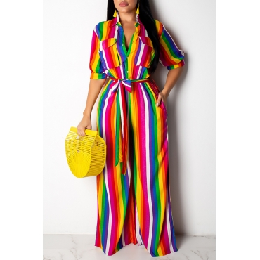 Lovely Stylish Striped Printed One-piece Jumpsuit