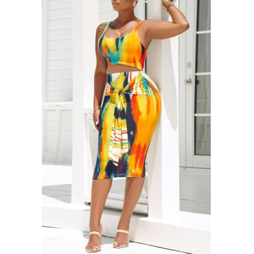 Lovely Casual U Neck Tie-dye Yellow Two-piece Skirt Set