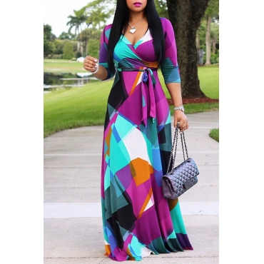 Lovely Sweet V Neck Color Block Patchwork Multicolor Floor Length Dress