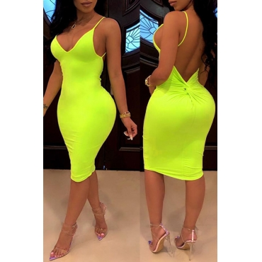 Lovely Sexy Backless Yellow Knee Length Dress(With Elastic)