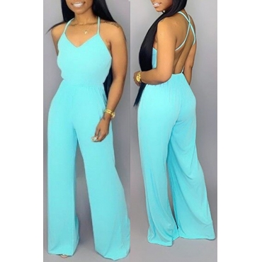 Lovely Sexy Halter Neck Baby Blue One-piece Jumpsuit