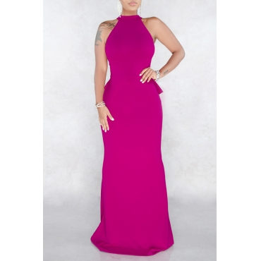 Lovely Elegant Halter Neck Rose Red Floor Length Dress