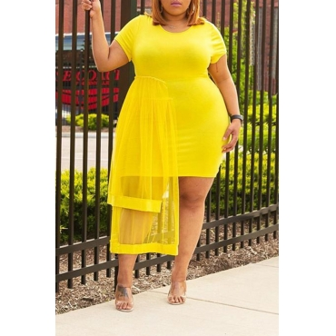 Lovely Trendy O Neck Gauze Patchwork Yellow Dress