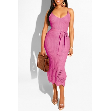 Lovely Stylish Spaghetti Straps Hollow-out Pink Mid Calf Dress