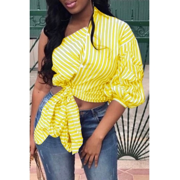 Lovely Casual One Shoulder Striped Yellow Blouse