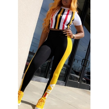 Lovely Casual Striped Yellow Two-piece Pants Set