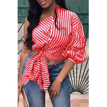 Lovely Casual One Shoulder Striped Red Blouse