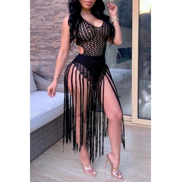 Lovely Sexy Hollow-out Tassel Design Black Swimdresses