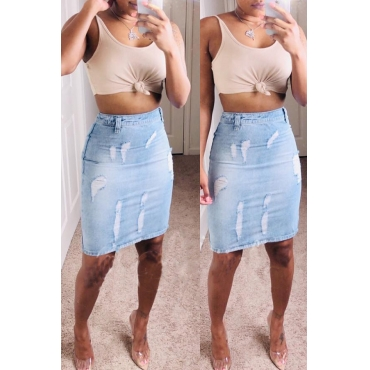 Lovely Casual Split Blue Knee Length Skirt