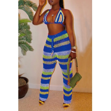 Lovely Halter Neck Hollow-out Blue Two-piece Swimwear