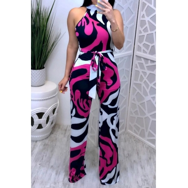 Lovely Sexy Printed Lace-up Multicolor One-piece Jumpsuit