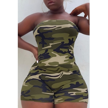 Lovely Casual Off The Shoulder Camouflage Printed Green One-piece Romper