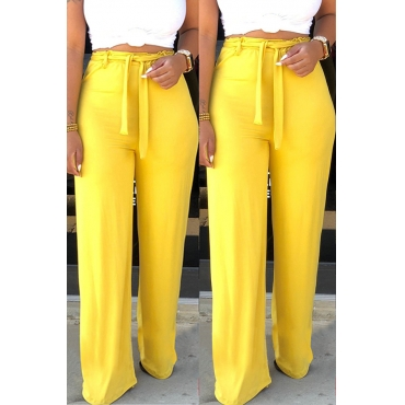 Lovely Stylish Lace-up Yellow Pants