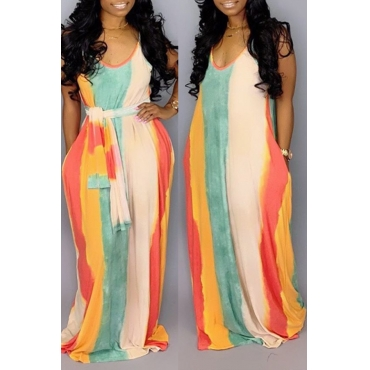 Lovely Casual U Neck Striped Multicolor Floor Length Dress(Without Belt)