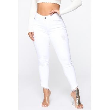 Lovely Stylish Mid Waist White Jeans