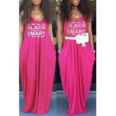 Lovely Casual V Neck Letter Printed Rose Red Floor Length Dress