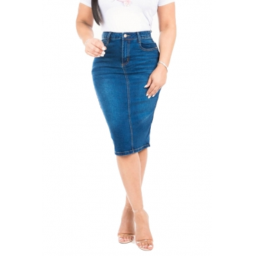 Lovely Casual High Waist Blue Denim Knee Length Skirt