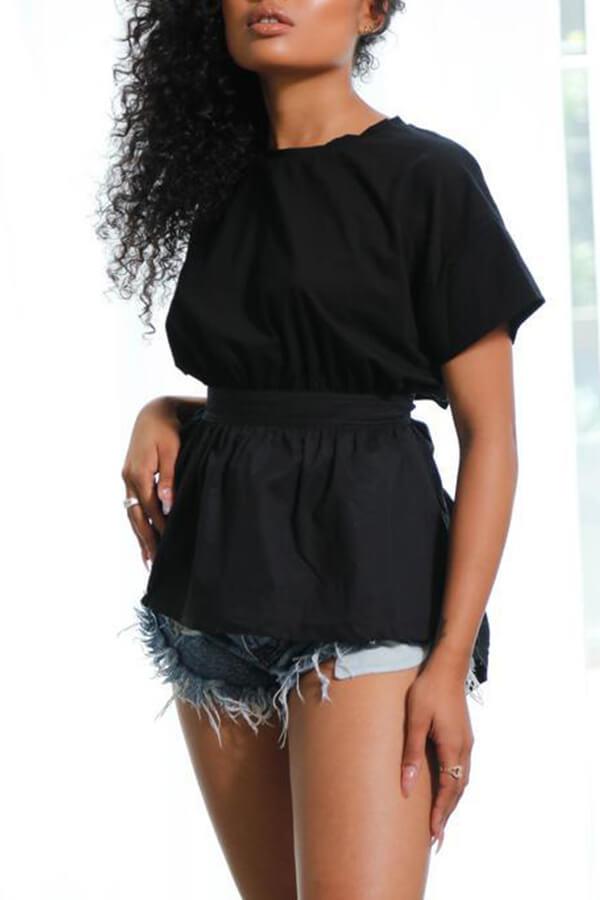 Lovely Trendy Round Neck Irregular Design Drawstring Black Cotton Shirts