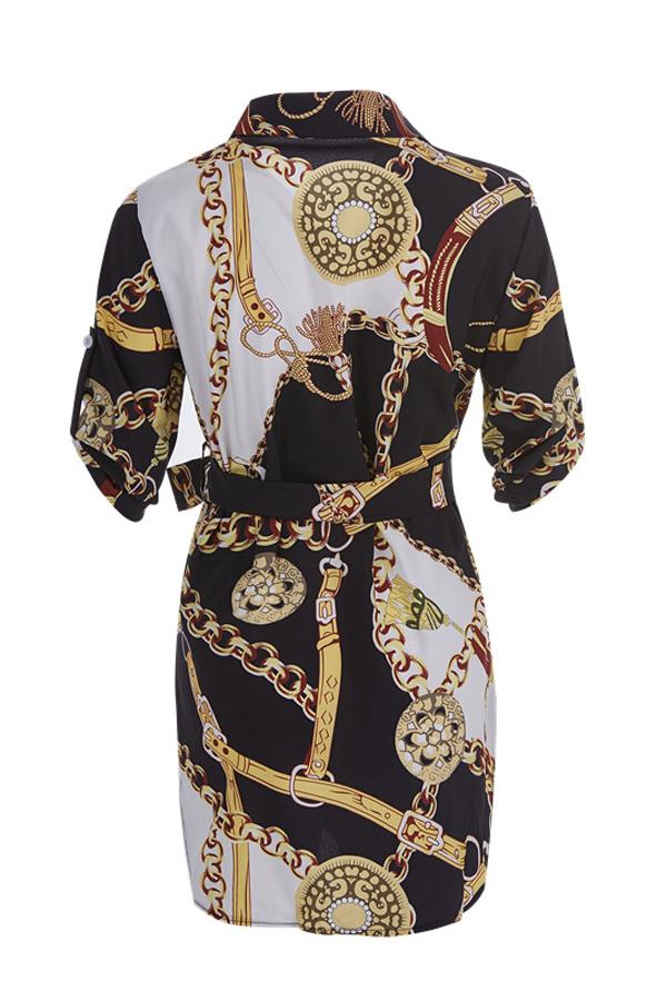 Lovely Stylish Turndown Collar Printed Gold Mini Dress