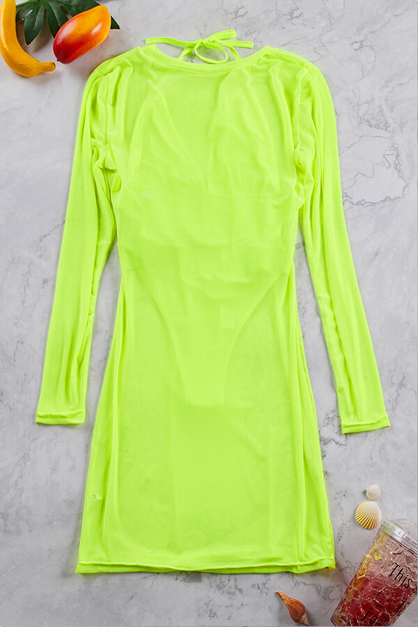 Lovely Patchwork Hollow-out Green One-piece Swimwear(With Cover-up)