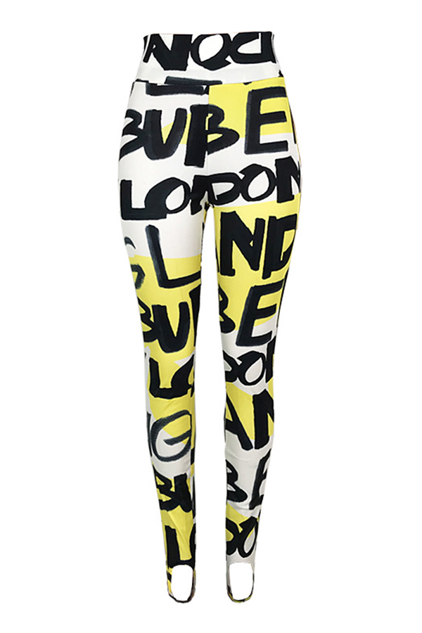 Lovely Casual High Elastic Letter Printed Yellow Pants