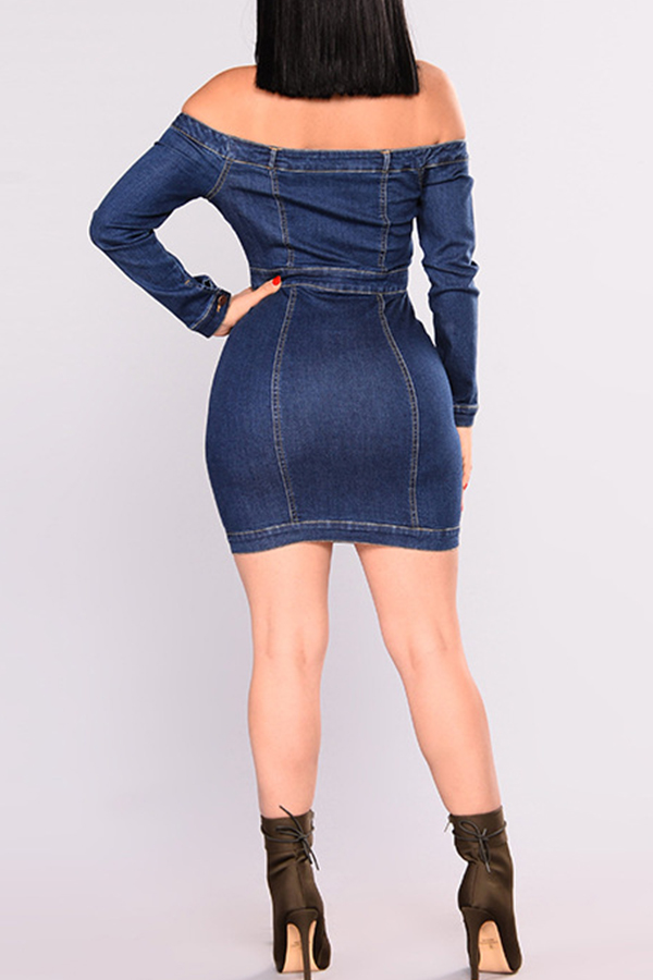 Lovely Casual Off The Shoulder Buttons Design Blue Denim Mini Dress