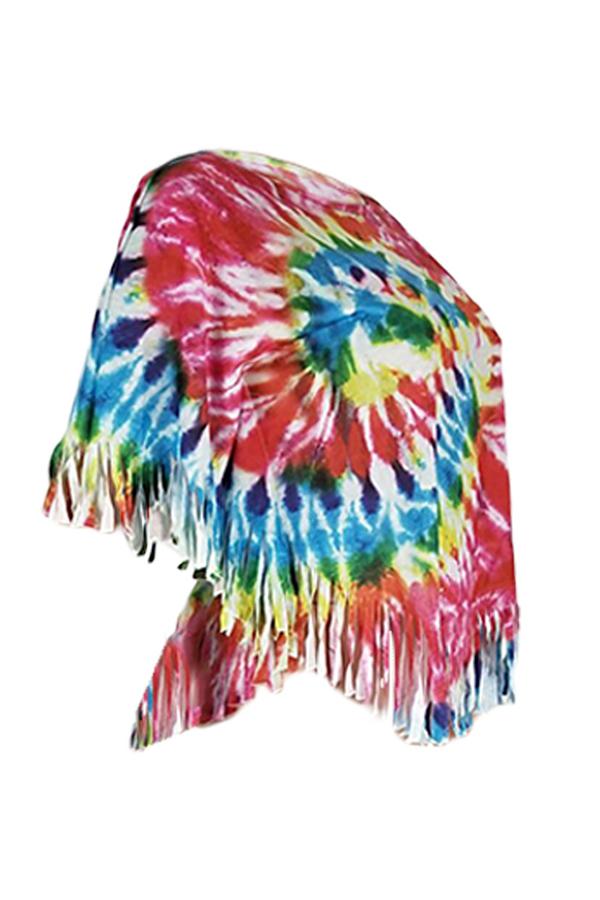 Lovely Casual O Neck Tassel Design Multicolor T-shirt