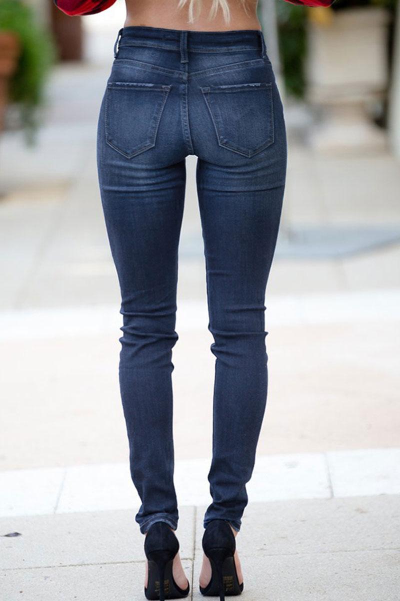Lovely Stylish High Waist Dark Blue Janes