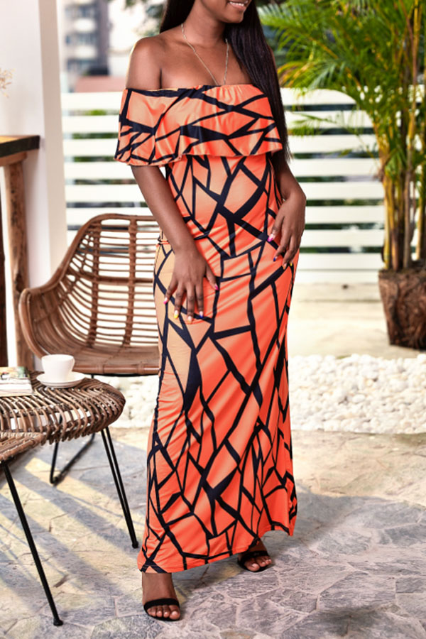 Lovely Casual Off The Shoulder Printed Orange Ankle Length Dress