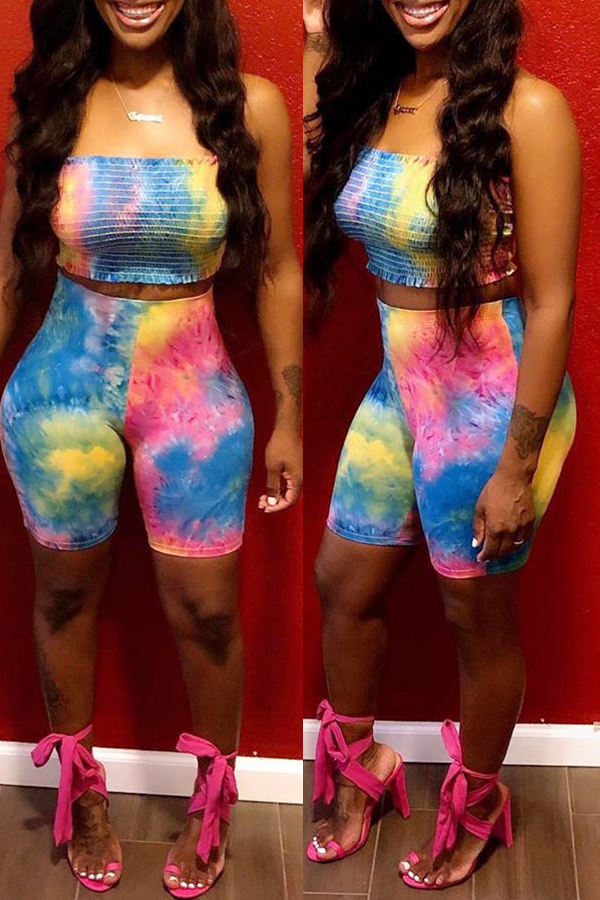Lovely Casual Off The Shoulder Tie-dye Blue Two-piece Shorts Set