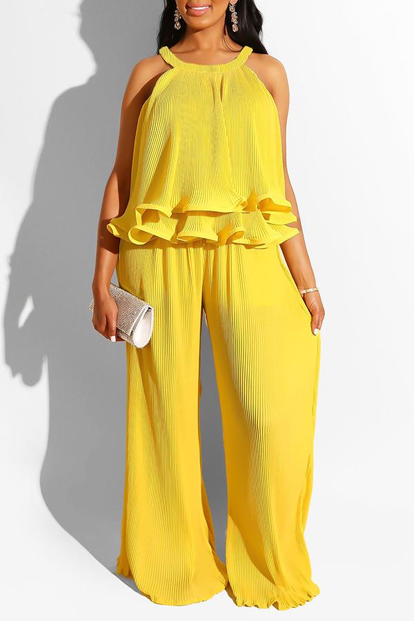 Lovely Sweet O Neck Ruffle Design Yellow Two-piece Pants Set