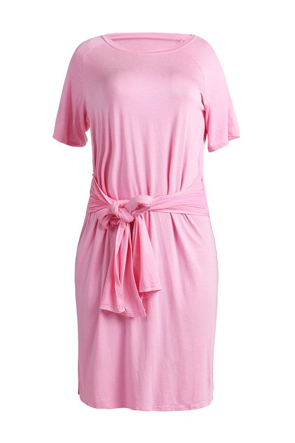 Lovely Casual O Neck Bandage Pink Cotton Knee Length Dress