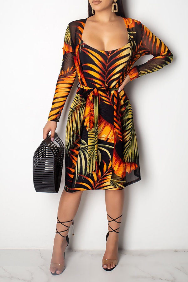 Lovely Bohemian Spaghetti Straps Printed Multicolor Knee Lenght Dress(With Shawl)