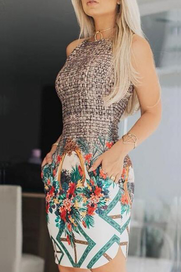 Lovely Stylish O Neck Printed Patchwork Multicolor Mini Prom Dress
