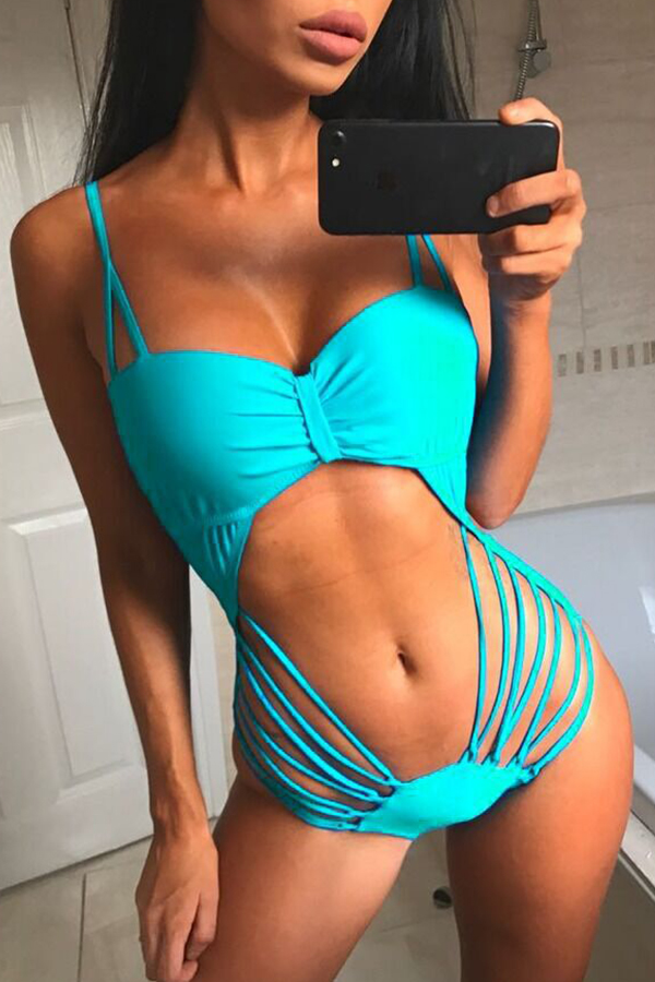 Lovely Hollow-out Skyblue One-piece Swimwear