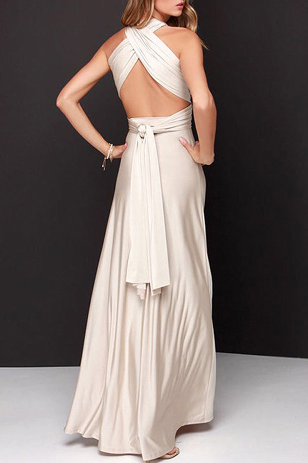 Lovely Stylish Halter Neck Hollow-out Creamy-white Floor Length A Line Prom Dress